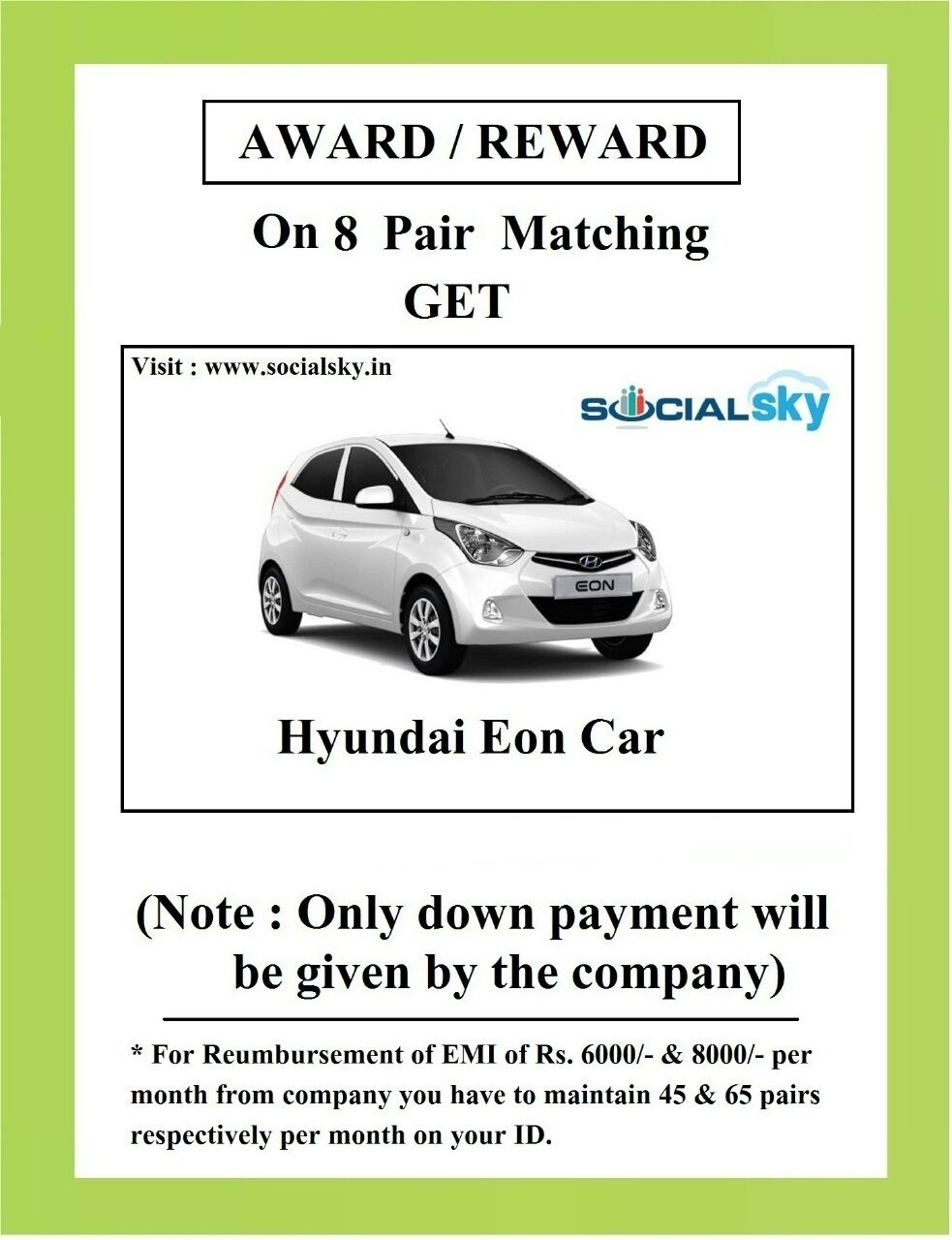 Get Hyundai Eon only 8 Pair