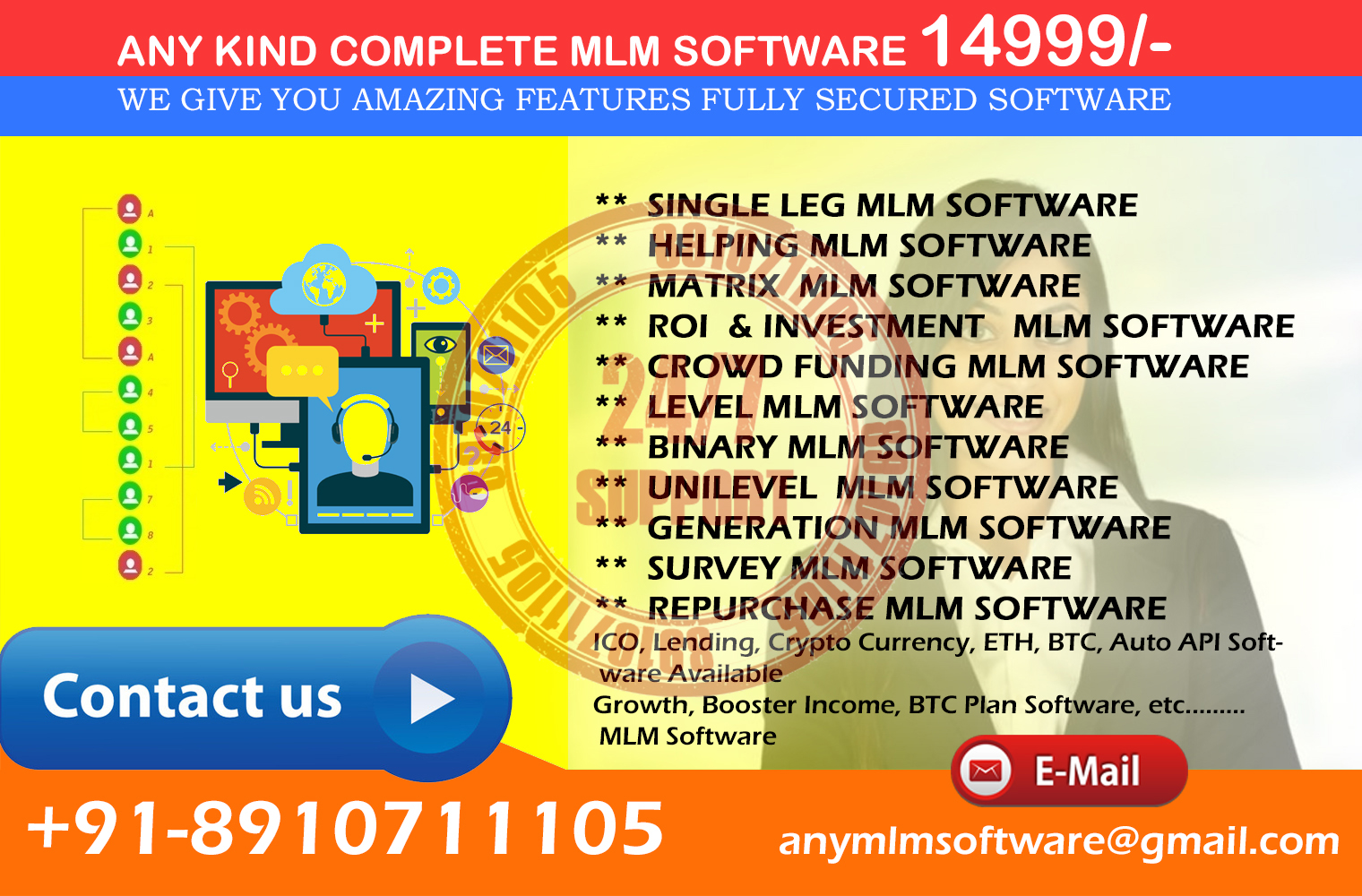 Any Kind MLM Software 14999/- onward With 1000 SMS Free Call Demo +91 8910711105