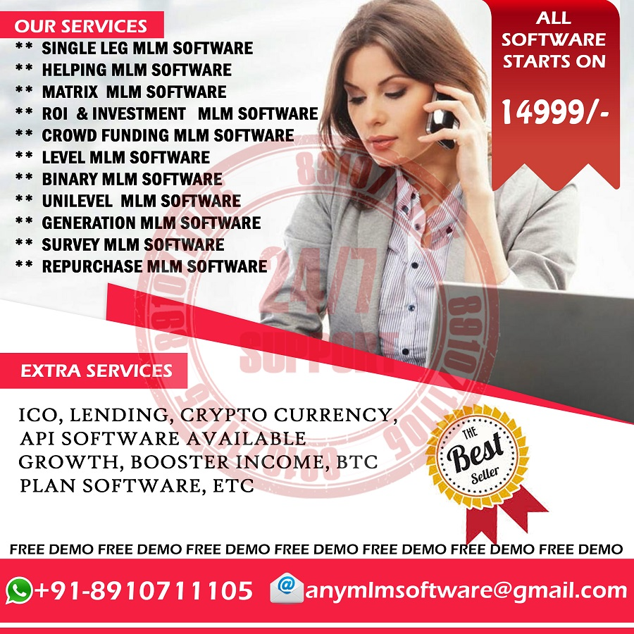 COMPLETE MLM SOFTWARE START PRICE 14999 ONWARD FREE 1000 SMS CALL +91 8910711105