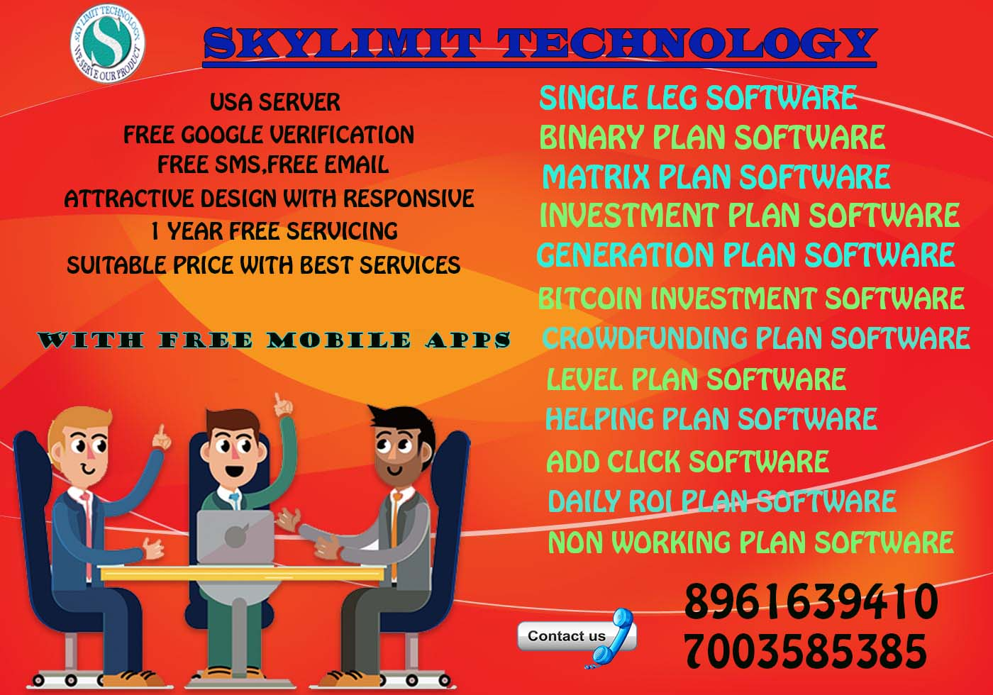 ANY TYPE OF MLM SOFTWARE WITH FREE MOBILE APPS AT CHEAPEST RATES..CALL 7003585385
